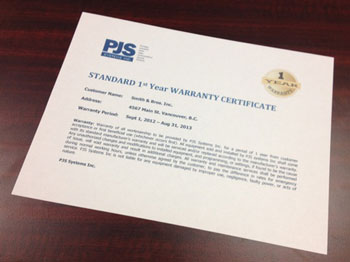 PJS Systems 1 year warranty